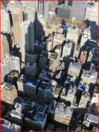 The Empire State Building's shadow from the top